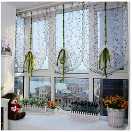 Wholesale Fabric Windows - Wholesale-Charming Roman Curtain 80 * 100CM Rural Style Embroidered Cloth Litre Fall Curtain Vogue Living Room Bedroom Gauze Shade