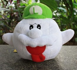 """Wholesale Mario Ghost Figure - 100PCS Lot Free shipping 8""""20cm Super mario red mario hat and green luigi hat boo ghost plush toys doll gift for kid"""