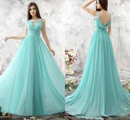 Wholesale Dress Color Aqua - Aqua Light Sky Blue Long Chiffon Bridesmaids Dresses Scoop Keyhole Front Sheer Lace Appliques Beaded Low Back Maid of Honor Dresses