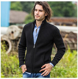 Wholesale Sweater Zippers Sleeves - cardigans men sweaters new 2017 knitwear zipper cardigan Top quality brand clothing fashion male christmas coat