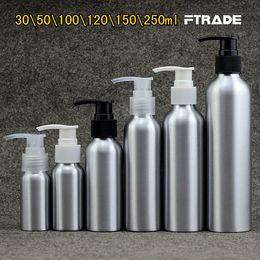 pompa vuota di bottiglie dello shampoo Sconti All'ingrosso 7 dimensioni vuoti metallo lozione bottiglie di alluminio pompa crema d'argento di cura della pelle pompa shampoo contenitori per bottiglie, cosmetici fai da te bottiglie