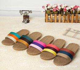 Wholesale Canvas Slip Resistant Shoes - Wholesale-2016 New Arrival Summer Linen Slippers at home indoor slip-resistant floor Lovers Women Sandals Flax Shoes Quick Slippers