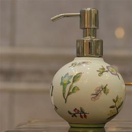 Wholesale Fancy Soaps - Fancy Design 300ML Ball shape Ceramic soap dispenser bottle hand painted flowers and birds Wedding Chrismas gift hand sanitizer Hotel Bath