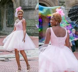 Forro rosa negro online-Vestidos de fiesta cortos de las muchachas negras del desgaste formal con las lentejuelas de los granos Una línea Vestido de regreso a los hogares de Tulle rosado Volver Lace Up Princesa Prom Dress Vestidos