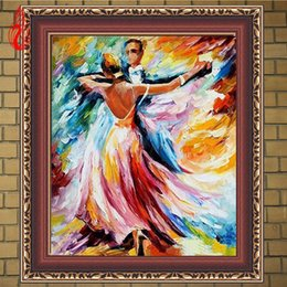 Wholesale Dance Oil Painting Canvas - YGS-208 DIY 5D Full Diamond Embroidery Oil Painting To Dance Round Diamond Painting Cross Stitch Kits Diamond Mosaic Home Decor