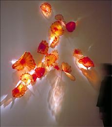 2019 встроенные аварийные фонари Рука выдувного стекла настенные плиты для отеля декор CE UL сертификат Чихули стиль цветное стекло декоративные стены искусства для внутреннего украшения