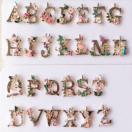 Wholesale Kc Gold Plating - KC gold Drop oil 26 alphabet Letters alloy pendant bracelet pendant DIY hair accessories phone stickers XZ48