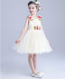Wholesale Tutu Skirt White Rose Princess - Flower Girl Dress Summer Girl Tutu Dress New Fashion Princess Vestido Ballet Skirt Rose Docor Sleeveless White Pink Party Dress