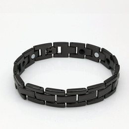 Wholesale Magnetic Clasp Mm - 1 PCS fashion trend in 14 mm double row with magnetic electric gold black healthy men between titanium steel bracelet