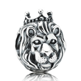 Wholesale Cross Charms Holes - Silver European Lion Head Alarm Clock Heart Big Hole Charms Beads Fit Original Bracelet Necklace Jewelry Accessories