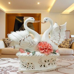 Wholesale Wedding Decoration Box China - White swan ceramics in pairs Home Furnishing Decor minimalist interior furnishings lovers ceramic gifts wedding room decoration
