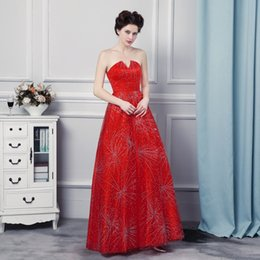Wholesale Vestidos Noche Cheap - Long Evening Dress Vestidos De Noche Largos Elegantes 2017 V Neck Red Tulle Cheap Floor Length Prom Dresses