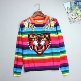 Wholesale Tiger Cashmere - Top Rainbow Striped Pullovers Women 2017 Autumn Long Sleeves Tiger Flowers Embroidery Women's Sweaters Pull Femme DH054