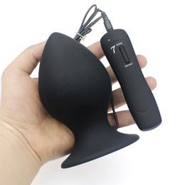 Wholesale Large Vibrating Anal Toys - Super Big Size 7 Mode Vibrating Silicone Butt Plug Large Anal Vibrator Huge Anal Plug Unisex Erotic Toys Sex Products L XL XXL 17901