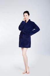 Wholesale Towelling Robe Women - Dark Blue Bathrobe Women Pajamas Hotel SPA Plus Robes Pajamas for Women Coral Fleece Nightgown Sleepwear Bath Towels