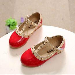 Wholesale Children Dressed Shoes - Children's Brands Shoes Girl's Spring Rivet Flats Sandals Casual Children Toe Ballet Ballerina Child fashion leather shoe