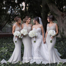 best plus size customized wedding dress - Gray Country Bridesmaid Dresses V Neck Sheer Tulle Long Sheath Mermaid Wedding Guest Dress Custom Made Plus Size Maid Of Gowns