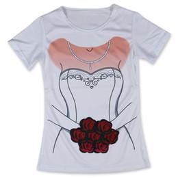 Wholesale Funny Wedding Shirts - Wholesale-Cheap New T Shirt Women Wedding Dress Bride Flowers Woman Tshirt Funny O Neck Tops Tees Short Sleeve Girls Clothing