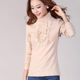 Wholesale Strech Laces - Wholesale- Woman spring plus size lace RufflesTurtleneck Full button thicken sweaters lady winter strech hedging warm slim Sweater