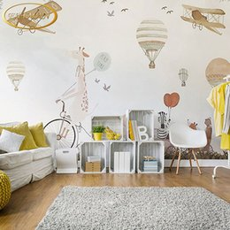 Wholesale Custom Printing Balloons - Custom 3D photo wallpaper cartoon hand painted hot air balloon mural Children room sofa background wallpaper papel de parede