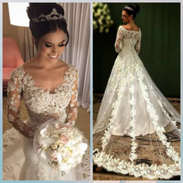 Wholesale Da Sposa - Vestido de Noiva A-Line Long Sleeves Wedding Dresses Bead Lace Appliques Abiti da Sposa Bride Gowns Vestidos de Novia Casamento