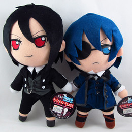 Wholesale Sebastian Anime - Free shipping 2piece  a lot Black Butler Phantomhive Kuroshitsuji Sebastian Michael figure Stuffed Plush Toy Doll Plush Figure