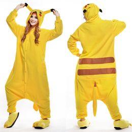 Wholesale Pikachu Costume Suit - Yellow Pikachu Animal Costume Kigurumi Pajamas Cosplay Halloween Suits Adult Romper Cartoon Jumpsuits Unisex Animal Sleepwear