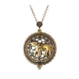 Wholesale Antique Gold Locket Pendant - Symbol Elephant Necklace Gold Plated Antique Design Lovely Locket Necklace Long Gold Chain Fashion Jewelry 16N0327