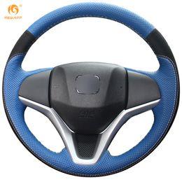 Wholesale new leather steering wheel cover - Mewant Blue Genuine Leather Black Suede Car Steering Wheel Cover for Honda New Fit City Jazz 2014 2015 HRV HR-V 2016 Vezel 2015-2017