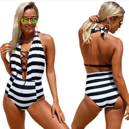 Wholesale Girls Piece Swimsuits - Mother's Day Gift Sexy Women's Swimsuit One Piece Bandage Striped Cross Criss Deep V Sleeveless Off Shoulder Female Girl Beach Swimwear