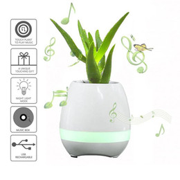 Wholesale China Plant Pots - hot selling mini smart flowerpot sensor Bluetooth speaker Flower pot Plastic Green plant pots decorative Macetas pot Playing Smart Music