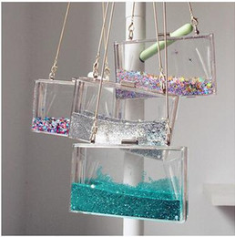 Wholesale Acrylic Clear Liquid - New Arrival Women Acrylic Liquid Quicksand Shoulder Bags Ladys Fashion Novelty Evening Party Bags Rectangle Clear Hangbag Free Shipping