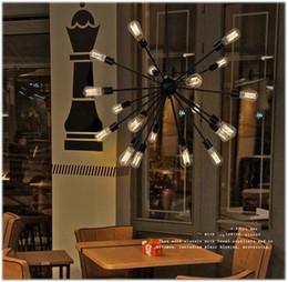 Wholesale Industry Energy Saving - Pendant Lighting Iron American Village Restaurant Industry Light With 12 16 18 20 Heads E27 Satellite Droplight For Restaurant