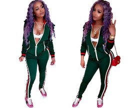 Wholesale Women S Two Piece Outfits - Two Piece Set Autumn Winter Zipper Jacket Top And Side Striped Pants Green Fitness Outfit Casual Suits Women Tracksuit