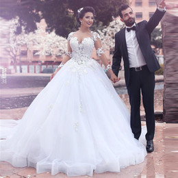 Wholesale Ball Gown Sweetheart Neckline Crystal - Saidmhamad Sweetheart Neckline Sheer Bodice with Lace Applique White Long Sleeves Wedding Dress Saudi Arabia Ball Gowns
