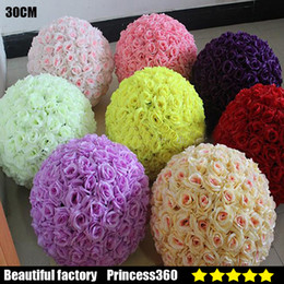 Wholesale 12 Inch Rose Kissing Balls - Elegant White Ivory Artificial Rose Silk Flower Ball Hanging Kissing Balls 30cm 12 Inch Ball For Wedding Party Decoration Supplies 99029-3