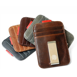 note cards set Promo Codes - High QualitId Men Wallets Credit card holder Automatic card sets retro Genuine Leather wallet card sets cash metal clip holder