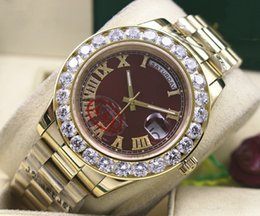 Wholesale mens automatic watch diamond sapphire - Top Quality Brow Dial President Mens Day-Date II 41MM 18k Yellow Gold Bigger Diamond Automatic Mechanical Mens Watch Men's Sport Wrist Watch