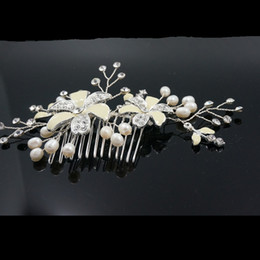 Wholesale Stunning Wedding Hair Accessories - Bridal Headwear Wedding Jewelry Crystal pearl Stunning wedding bridal flower hair accessory headdress 2017 Classic Design