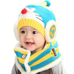 Wholesale Fish Beanies - Unisex Child Knitted Beanies Caps Set Children Kids Cat Hats and Cartoon Fish Stripe Scarf Warm Suit Set
