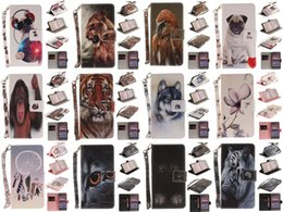 Wholesale Wolf Dog Paintings - Wolf Owl Tiger Lion Dog Monkey Painted Cover PU Leather Wallet Card slot Stand Case For Huawei Honor 8