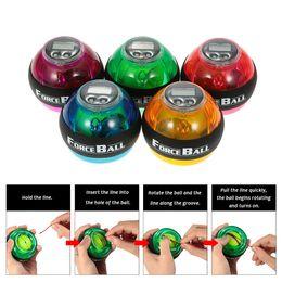 Wholesale Speed Meter Led - 12000 RPMS Gyroscope PowerBall Gyro Power Ball Wrist Arm Exercise Strengthener LED Force Ball with Speed Meter Counter 5Colors