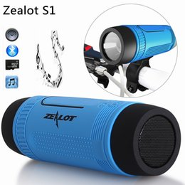 Wholesale S1 Flashlight - Sport Bluetooth Speaker Zealot S1 BT Portable Wireless Waterproof Bluetooth Speaker with Power bank And Flashlight Multifunctional 5 colors