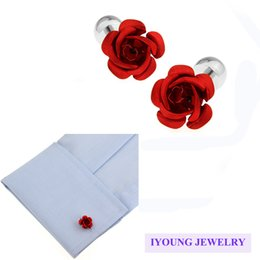 Wholesale Men Wedding Dress Shirts - Novelty Red Rose Flower Cufflinks for Men Dress Shirt Metal Button Romantic Wedding Cuff Link Sleeve Nail Engagement Marriage Christmas Gift