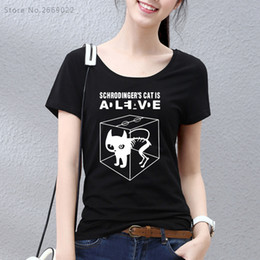 Wholesale Funny Girl Shirts - Wholesale- Girls HanHent The Big Bang Theory Schrodinger's Cat T-shirts Women Swag Funny Cotton Short Sleeve Tshirts New Style T shirt