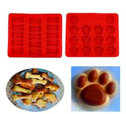 Biscoitos para cães on-line-Cão de Osso quente Pegada Forma Silicone Baking Mould Biscoito Bolo Biscoito De Chocolate Sabão Cozimento Cozinha Ferramenta