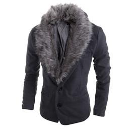Wholesale Mens Army Coat Xl Grey - Men Outwear 2016 New Mens Two Detachable Fur Collar Woolen Fur Collar Slim Fit Leisure Suit Jacket Coat Plus Size High Quality