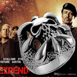 Wholesale Lucky Stainless Steel Ring - The Expendables Skull Ring Punk Biker Style Gothic Skeleton Rings for Men 316L Stainless Steel Stallone's Lucky Ring Jewelry for EXP Fa