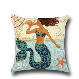 Wholesale Princess Pillow Cases - Little Mermaid Princess Girl Cushion Pillow Case Cover Marine Ocean Decorative Pillows Covers Linen Cotton For Sofa Decor Home House