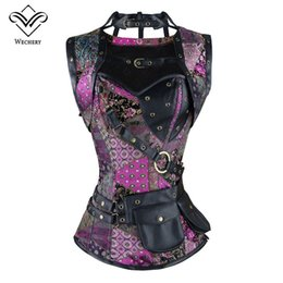 Wholesale Embroidery Belt - Steampunk Corset Plus Size Vintage Gothic Steel Boned Corset Leather Harness Corset Bustier with Belt Corsage S-6XL